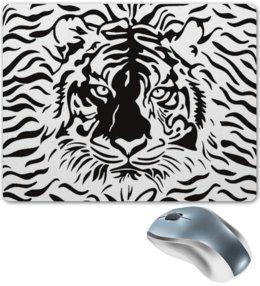 """Коврик для мышки """"Взгляд Тигра"""" - рисунок, взгляд, графика, тигр, чёрное и белое"""