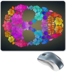 "Коврик для мышки ""Skull Art"" - skull, череп, цветы, черепа, skulls"