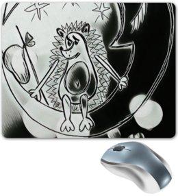 """Коврик для мышки """"Ежик на луне"""" - одиночество, графика, небо, ежик, луна"""