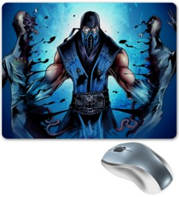 """Коврик для мышки """"Mortal Kombat"""" - игры, синий, mortal kombat, саб зиро, компьютерные"""