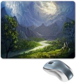 """Коврик для мышки """"Пейзаж красками"""" - лес, природа, горы, пейзаж, река"""