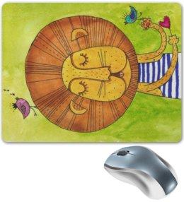 """Коврик для мышки """"Лев Бонифаций в тельняжке"""" - лев, акварель, грива, бонифаций, тельняжка"""