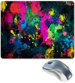 """Коврик для мышки """"Брызги красок"""" - цвета, кисть, акварель, живопись, фон"""