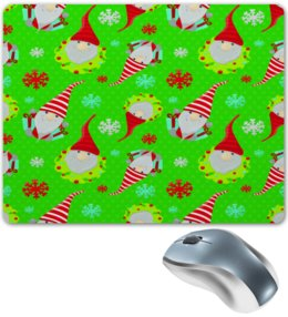 "Коврик для мышки ""Снежинки"" - новый год, снежинки, дед мороз, санта, гном"