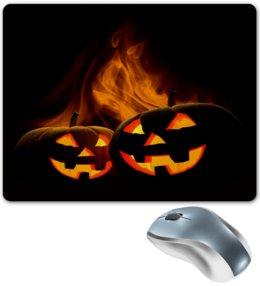 """Коврик для мышки """"Хэллоуин"""" - хэллоуин, черный, огонь, тыква, ужасы"""