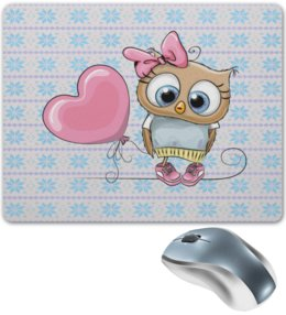 "Коврик для мышки ""Воздушный шар"" - сова, сердце, узор, снежинки, воздушный шар"