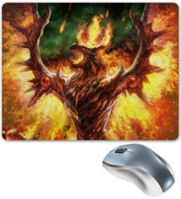 """Коврик для мышки """"огненный дракон"""" - арт, крылья, дракон, огонь, феникс"""