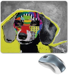 "Коврик для мышки ""Taksa"" - dog, коллаж, collage, такса, dachshund"