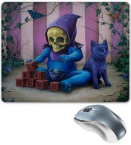 """Коврик для мышки """"Art Horror"""" - skull, череп, кот, cat, малыш"""