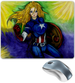"Коврик для мышки ""Девушка Капитан Америка"" - девушка, марвел, капитан америка"