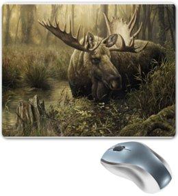 """Коврик для мышки """"Лось в лесу"""" - животные, рисунок, лес, лось, чащоба"""