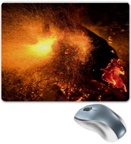 """Коврик для мышки """"Искры в ночи"""" - огонь, горячий, абстракция, яркий, горящий, пламя, абстрактный, искра, костер, уголь"""
