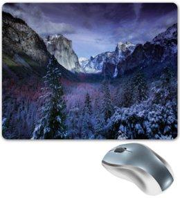 """Коврик для мышки """"Синие горы"""" - лес, природа, горы, пейзаж, скалы"""