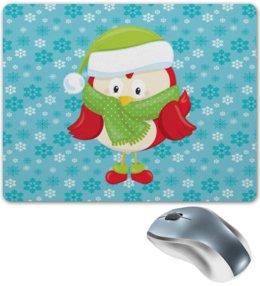 """Коврик для мышки """"Совенок"""" - новый год, сова, птички, подарки, снежинки"""