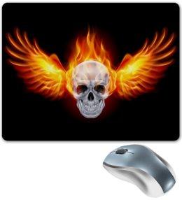 """Коврик для мышки """"Череп"""" - череп, огонь"""