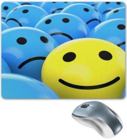 """Коврик для мышки """"Улыбка"""" - смайл, улыбка, синий, печаль, смайлы"""