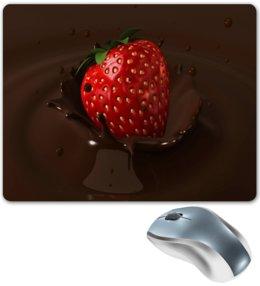 """Коврик для мышки """"Клубника в шоколаде"""" - еда, фрукты, ягоды, клубника, шоколад"""