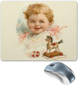 """Коврик для мышки """"Маленький мальчик с игрушками"""" - ретро, мальчик, игрушки, ребёнок, старинный"""