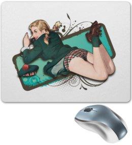 """Коврик для мышки """"""""Pin-up girl"""""""" - прикольно, стиль, графика, коврик, в презент, пин-арт, девчонка, для подарка, для компьютера"""