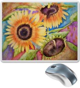"""Коврик для мышки """"Подсолнушки"""" - лето, цветы, солнце, акварель, подсолнухи"""