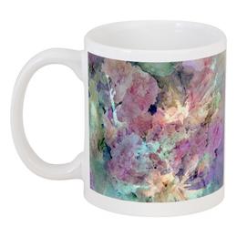 """Кружка """"Солнце,вода,цветы. Абстракция"""" - розовый, акварель, паттерн, бирюзовый, нежный"""