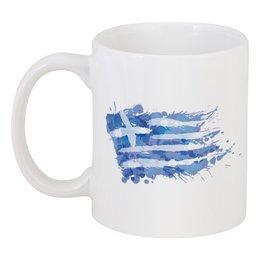 "Кружка ""Греческий флаг (сплэш)"" - флаг, символика, греческий, греция, greek"