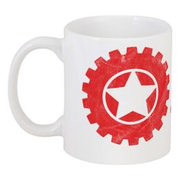 "Кружка ""RED'S Logo"" - red, мотоцикл, байкер, механика, шестерёнки"