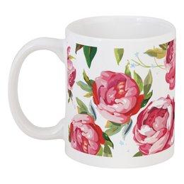 """Кружка """"Пионы"""" - цветы, пионы, розы, узор, природа"""