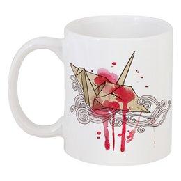 """Кружка """"бумажный журавлик"""" - пятна, разводы, акварель, оригами, бумажный журавлик"""
