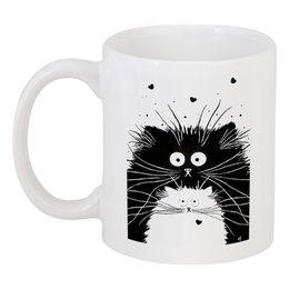 """Кружка """"Кот и Кошка"""" - кот, кошка, рисунок, чёрное и белое"""