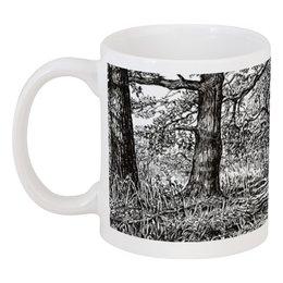 """Кружка """"Прогулка по лесу"""" - рисунок, деревья, графика, природа, подарок"""