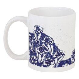 """Кружка """"ЛЕТНЕЕ"""" - цветы, узор, рисунок, blue"""