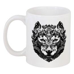 "Кружка ""Волк Стилизация 2"" - волк, wolf, волчица"