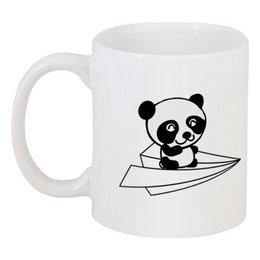 "Кружка ""Панда спасет утро!"" - супер, панда, кофе, самолет, милота"