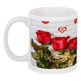 "Кружка ""Сердечки"" - сердце, любовь, цветы, романтика, розы"