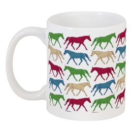 """Кружка """"цветные лошадки"""" - лошади, графика"""