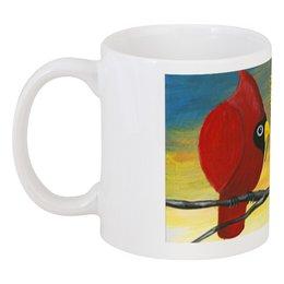 """Кружка """"Свидание на ветке"""" - птица кардинал, свидание, влюблённые, чашка с красной птицей, прикольные птички"""