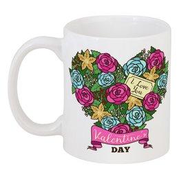 """Кружка """"Сердечко из роз"""" - любовь, сердца, день святого валентина, 14 февраля, день влюблённых"""