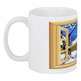 """Кружка """"Новый Год за окошком"""" - зима, рождество, снеговик, подарок к новому году, чашка со снеговиком"""