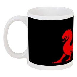 """Кружка """"Красный дракон"""" - силуэт, дракон, фентези, крылатый"""