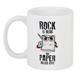"""Кружка """"Rock is Dead"""" - игры, рок, rock, прикольные, камень ножницы бумага"""