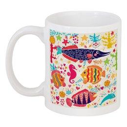 """Кружка """"Обитатели моря 2"""" - море, рисунок, рыбки, обитатели моря"""
