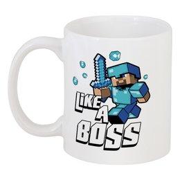 "Кружка ""Like a Boss. Майнкрафт"" - игры, minecraft, майнкрафт, геймерские, стив"