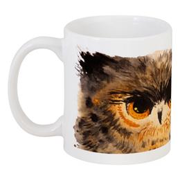 """Кружка """"Пушистая сова"""" - животные, птица, рисунок, сова, акварель"""