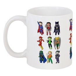 "Кружка ""Супергерои"" - супермен, джокер, молния, бэтмен, аквамен"