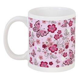 "Кружка ""Бабочки"" - бабочки, цветы, розовый фон"