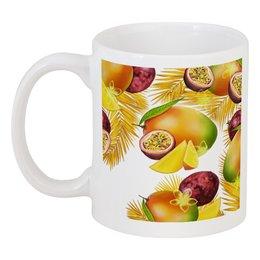 """Кружка """"Тропические фрукты"""" - фрукты, рисунок, тропики, папайя, маракуйя"""