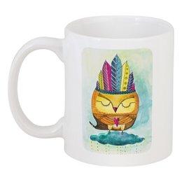 """Кружка """"Сова Индеец"""" - сердце, сова, акварель, индеец, шаман"""