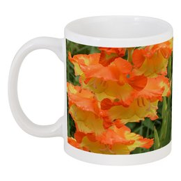 "Кружка ""Цветочная феерия."" - лето, цветы, роза, гладиолус, цветник"