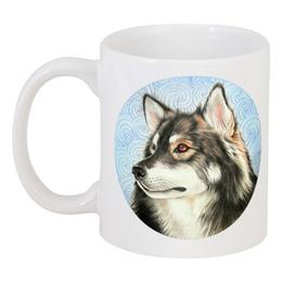 """Кружка """"Пес на голубом фоне"""" - арт, рисунок, пес, собака, волк"""